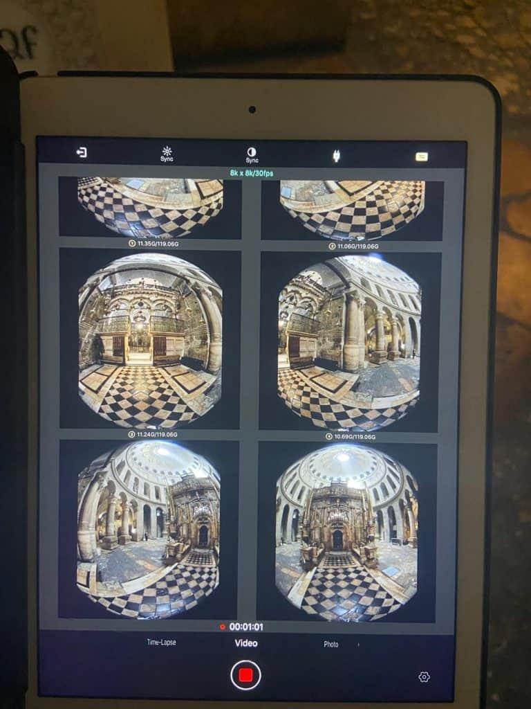 מוניטור טאבלט 6 עיניות למצלמת 360 מתוך פרויקט Jerusalem vr